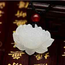 Chinese natural A white hetian jade pendant carved necklace Antique DIY China