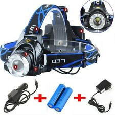 990000LM Rechargeable Head light LED Tactical Headlamp Zoomable+2x Charger+18650