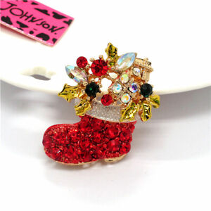 Christmas boots Red Crystal Rhinestone Charm Brooch Pin Betsey Johnson Xmas Gift