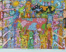 "James Rizzi ""Look - There Are Cows In The City"" 2000 Hand Signed 3-D Pop Art"
