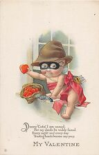 B26/ Valentine's Day Love Holiday Postcard c1910 Cupid Bandit Mask Hearts 18
