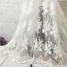 "1 Yard Flower Milk Silk Embroidery Transparent Net Lace Fabric 51"" Width"