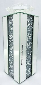 Candle Holder Sparkly Large Silver Mirrored Diamond Crush Crystal Tall 33cm