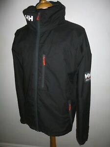 Men's Helly Hansen Crew Jacket Hooded Black Hiking Walking Sailing Coat XXL 2XL
