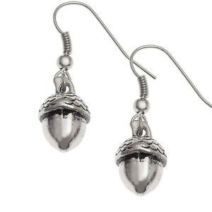 Silver Acorn Drop Earrings - Gift Boxed
