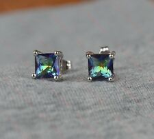 Beautiful 18k/18ct White Gold Filled Blue Mystic Topaz 6mm Square Stud Earrings
