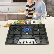 "30"" Black Titanium Stainless Steel 5 Burner Built-In Stoves Gas Cooktop Kitchen"