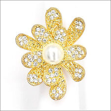 Daisy Flowers Cocktail Rings Crystal Costume Jewelry Clear 3D White Pearl Gold T