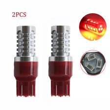 2x 7443 Red Flash 8 times Strobe Rear Safe Alert Brake Tail Stop LED Light Bulbs