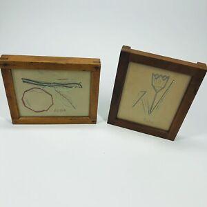 2-Pack Vintage Thread Picture Folk Art in Eastman Kodak frames Tulip & Apple (L)
