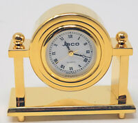Miniature Table Full Brass Novelty Clock, Vintage Classic Floating Design
