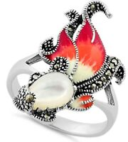 Sterling Silver Mother of Pearl Enamel Ghost Fish Marcasite Ring Sz 5-11