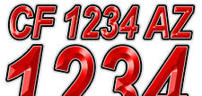 Red Metallic Custom Boat Registration Numbers Decals Vinyl Lettering (2Sets)USCG