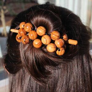 Haarschmuck aus Holz | Holzperlenband mit Haarnadel