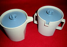 New listing Vtg Tupperware Cream / Sugar Containers Almond With Blue Button Lock Lids Vgc