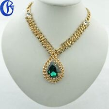 Women's Simple Charm Big Green Crystal Pendant Necklace Gold Color Tone Chain