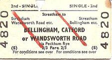 B.R.B. Edmondson Ticket - Streatham to Bellingham, Catford or Wandsworth Road