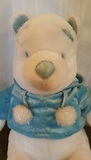 "Disney Store Winnie the Pooh WINTER WHITE POOH 12"" w/ Sparkly Blue Plush Toy"