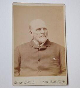 Cabinet Card Photo Little Falls NY W H Abbott Antique Photograph Serious Man