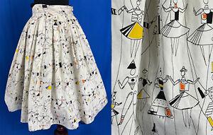 VTG Signature Fabric Jacqueline Groag Puppet Ballet Novelty Print Circle Skirt