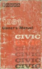 1981 Honda Civic Owners Manual User Guide Reference Operator Book Fuses Fluids