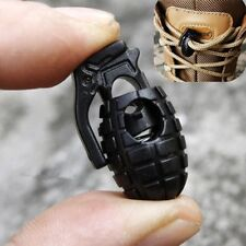 10 Pcs Black Grenade Shoe lace Buckles Camping Paracord Cord Spring Locks