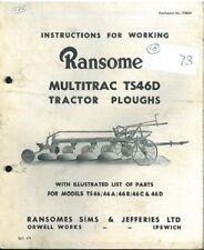 RANSOMES ts46d multitrac TRATTORE ARATRO operatori manuale e elenco delle parti