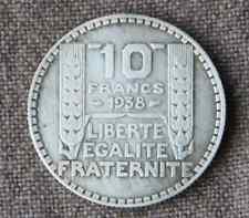 Monnaie France pièce 10 francs ARGENT Turin 1938 Silver coin 1 RARE rameaux long