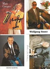 4 Autogramme Musik Lot Max Greger Dr Jussenhoven Wolfgang Sauer Heinz Schenk