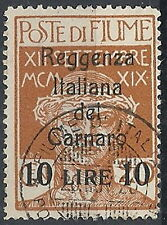 1920 FIUME USATO REGGENZA ITALIANA DEL CARNARO 10 LIRE SU 20 CENT - RR11935