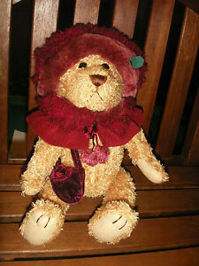 "BRASS BUTTON BEARS COLLECTION  RUBY 13"" PLUSH JOINTED  BEAR OF HAPPINESS"
