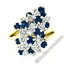 Vintage 18K Gold 2.20ct Royal Blue Sapphire Diamond Tiered Cocktail Cluster Ring