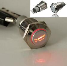 DZ1252 LED Momentary WaterProof Flat Push Car Horn Button Light Switch 12V 16MM