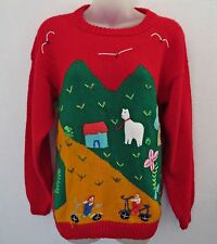 Vtg Women Ugly Christmas Kids Bicycle Sheep Trees Red Green Knit Sweater Sz S