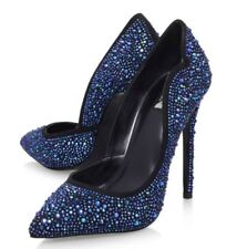 Carvela Kurt Geiger embellised Azul Tacón Alto Tribunal Zapatos Talla UK5/EU38 (nuevo Y En Caja)