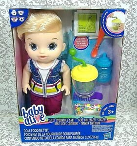 Baby Alive Sweet Spoonfuls Blonde Baby Doll Boy Extra Diapers & Food Set New