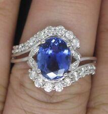 2,00Kt 585er Weiß Gold Natürlich Tansanit & EGL Zertifiziert Diamant Ring
