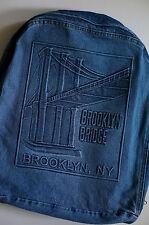 Brooklyn Bridge Blue Jean Denim OVERSIZED BACKPACK Adjustable Straps ZIPS SNAPS