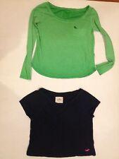 Women's Junior Tees Size XS Abercrombie & Hollister Green Long Blue Short Sleeve