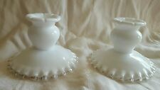 Fenton Silver Crest Milk Glass Candle Stick Holders