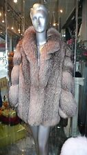 STUNNING Crystal  Fox Fur Short Coat Diagonal Sleeve Plush Gorgeous Shade MEXA