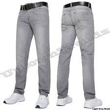 NUEVO Vaqueros Hombre Delgado & Corte Recto Pantalones Azul Oscuro