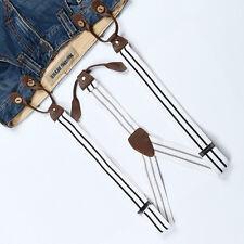 Men's Black White Stripes Suspender Braces Adjustable Leather Button Holes BD769