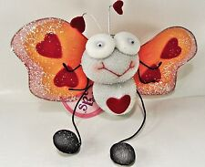 "FLUTTERING FRIENDS Happy Heart Butterfly - Spring Danglers bugs soft 7"" Wingspan"