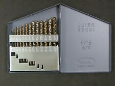"""Huot 12750 Drill Bit Index W/ Complete set of 1/16"""" to 1/4"""" bits Made in USA"""