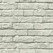 Dark Grey and White Brick & Mortar Wallpaper