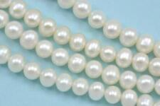 5-6mm Ivory White Near Round Freshwater Pearls Beads A for Jewellery Making