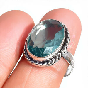 """925 Sterling Silver Blue Aquamarine Gemstone Jewelry Spinner Ring (US) Size-7.5"""""""