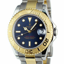 ROLEX Midsize 18KT GOLD Stainless YACHTMASTER Blue Black Dial 168623 SANT BLANC