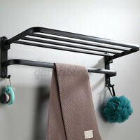 2-Tier Bathroom Towel Rack Holder Wall Mount Rail Hotel Toilet Shower Organizer